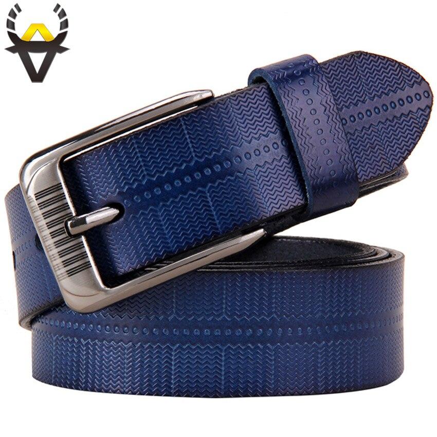 Echtes leder gürtel für frauen Mode Pin schnalle frau gürtel Hohe qualität Zweite Schicht Cowskin gurt weibliche für jeans Blau verkauf