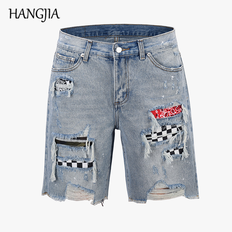 Mens Patchwork Denim Shorts Streetwear Ripped Jeans For Men Black/blue Washed Hole All Match Distressed Biker Jeans