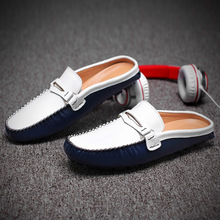 Summer new mens peas shoes leather half drag lazy trend breathable casual