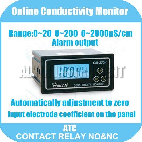 En ligne Conductivité Moniteur Testeur COMPTEUR Analyzer Contacter relais NO et NC 0-2000us/cm Erreur: 2% FS ATC sortie D'alarme Livraison Gratuite