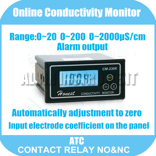 Free Shipping Online Conductivity Monitor Tester METER Analyzer Contact relay NO&NC  0-2000us/cm Error:2%F.S ATC Alarm output hp9800 pc usb port 4500w 85v 110v 220v 265v ac 20a electric power energy monitor tester watt meter analyzer with socket output