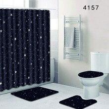 4 Pcs Simple Style Bathroom Carpets With Bath Curtain Bath Mat Set Toilet Lid Cover And U-shape Mat Toilet Rugs Tapete Banheio pebbles pattern 3 pcs bath mat toilet mat