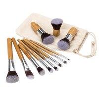 11PCS Professional Bamboo Makeup Brushes Set Eye Shadow Eyebrow Eyeliner Foundation Soft Blusher Kabuki Cosmetic Brush