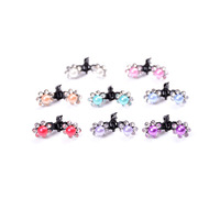 6pcs/lot Elegant Baby Girls Rhinestone Crystal Hair Claws Mini Flower Hair Clamps Colorful Hair Accessories Wholesale