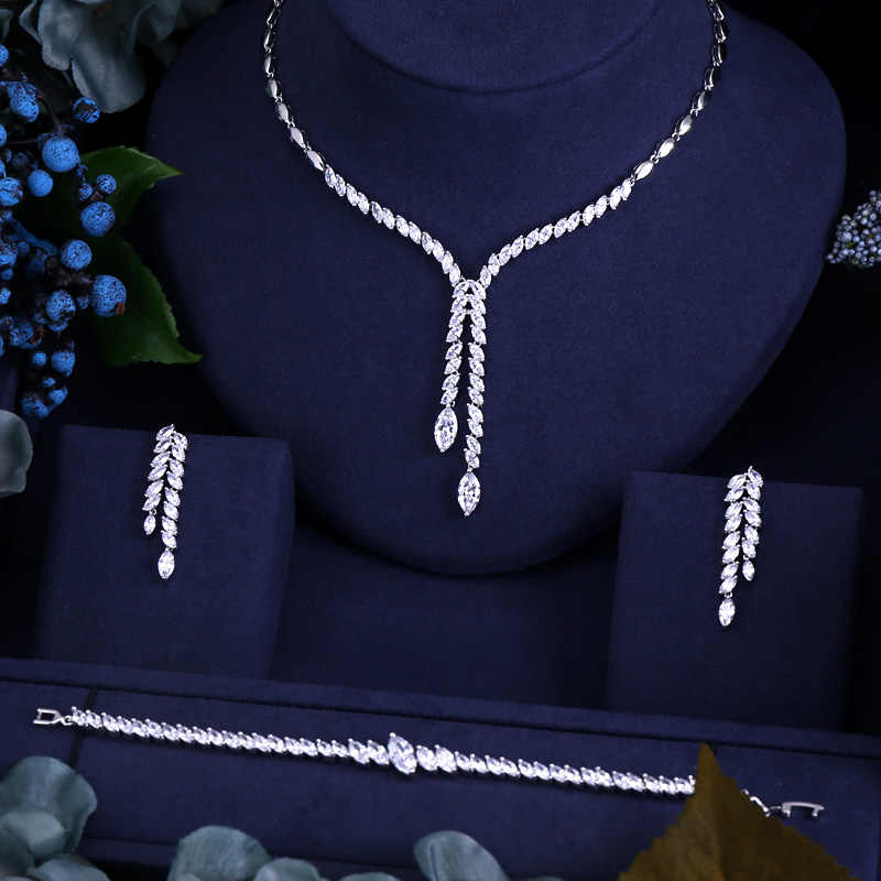 CLEAR BEST QUALITY BRILLIANT CRYSTAL ZIRCON EARRINGS AND NECKLACE BRACELET BRIDAL JEWELRY SETS AND MOR WEDDING DRESS ACCESSARIES