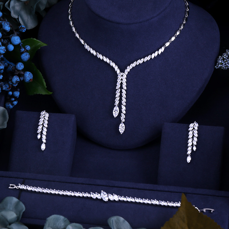 CLEAR BEST QUALITY BRILLIANT CRYSTAL ZIRCON EARRINGS AND NECKLACE BRACELET BRIDAL JEWELRY SET WEDDING DRESS ACCESSARIES