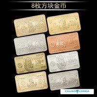 Wr 8 pçs/set colorido estados unidos bullion cédula de metal artesanato 24 k banhado a ouro réplica moeda barra dólar dos eua para presentes de negócios