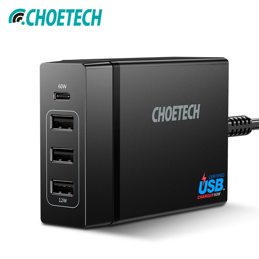 CHOETECH Multi Usb Charger USB C 72W 4 Port USB Type C PD Charger Station Type