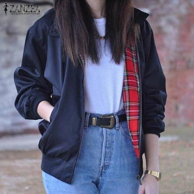 Outwear 2017 Autumn Women Casual Outerwear Long Sleeve Slim Tartan Lining Zippered Bomber Jacket Coat US Plus Size 4-22