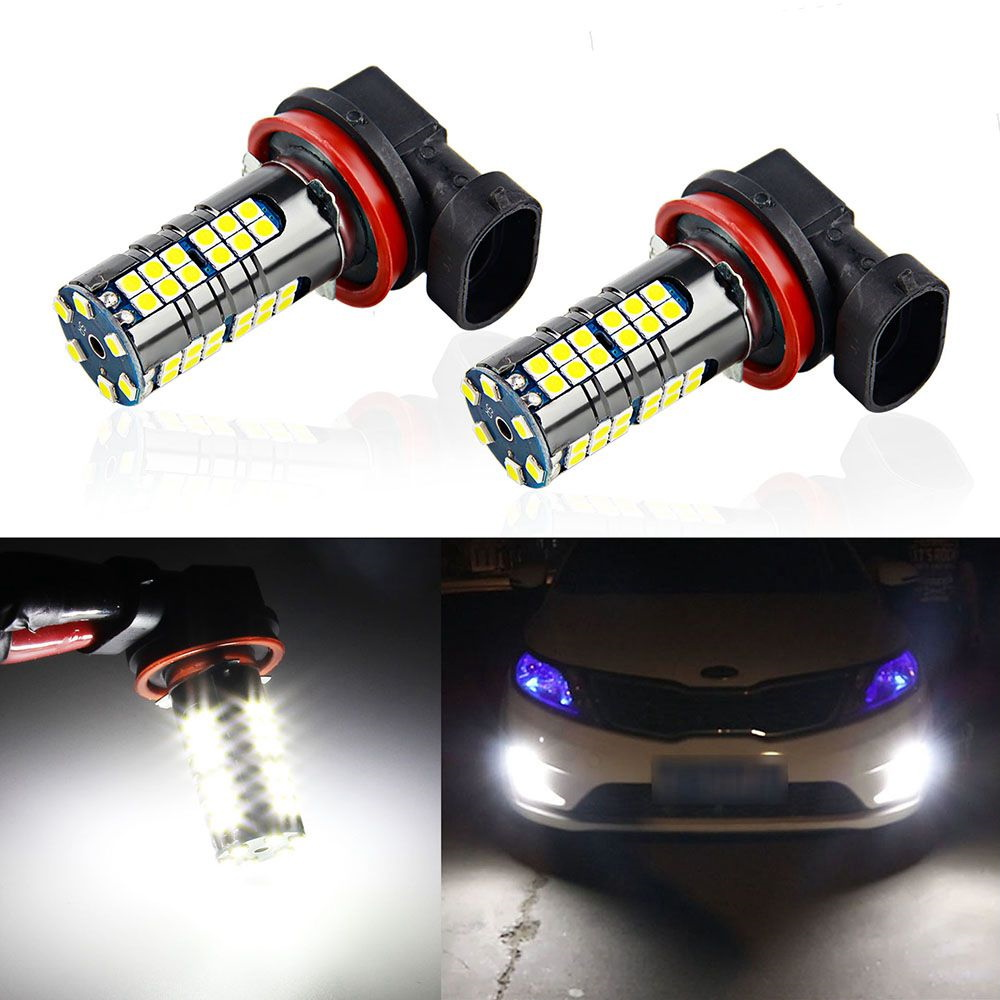 2Pcs H11 Led H8 Bulb HB4 Led HB3 9006 9005 Car Fog Lights 2000LM 6000K 12-24V DRL Daytime Running For Auto Lamp Light Bulbs 2pcs 12v 24v h8 h11 led hb4 9006 hb3 9005 fog lights bulb 1200lm 6000k white car driving daytime running lamp auto leds light