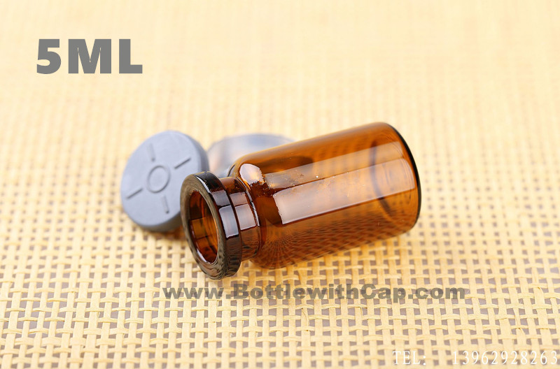 100*5ml Glass vials & flip off cap sterile powder vial brown glass bottle empty bottle