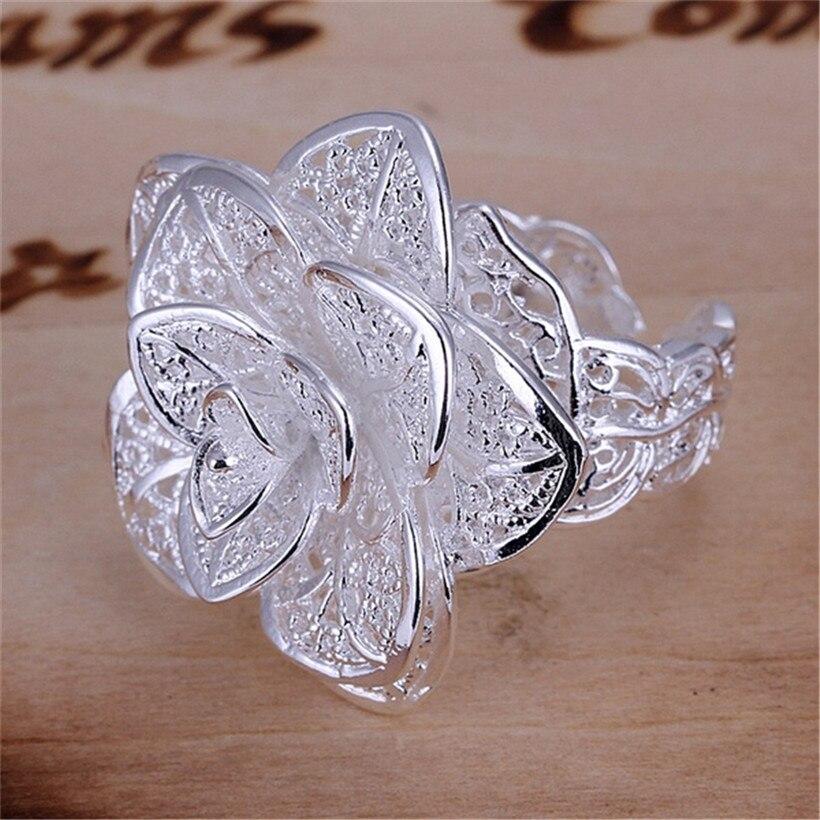 A nova cor de prata charme feminino anel de flor feminino senhora novo anel de festa venda quente presente estilo clássico frete grátis