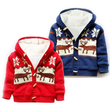 Baby Boy Winter Coat Thick Warm Sweater Cardigan Christmas Deer Printed Knitted Tops Hooded Coat Cotton Jacket Kids Outerwear