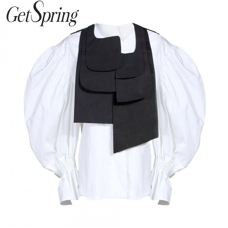 GetSpring femmes ensemble rétro lanterne manches blanc femmes chemise avec gilet noir 2 pièces ensemble Vintage femmes deux pièces ensembles 2019