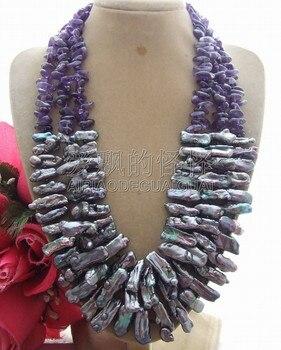 N092505 3Strands Biwa Pearl Necklace