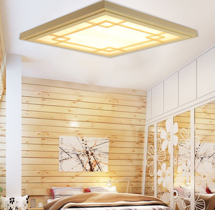 Lights & Lighting Ceiling Lights & Fans Japanese Style Tatami Wood Ceiling And Pinus Sylvestris Ultrathin Led Lamp Natural Color Square Grid Paper Ceiling Lamp Fixture