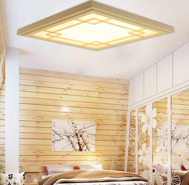 Japanese style tatami wood led ceiling light pinus sylvestris japanese style tatami wood led ceiling light pinus sylvestris ultrathin natural color square grid paper ceiling aloadofball Image collections