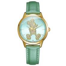 Disney Mickey mouse cuarzo reloj de cuero relojes de las mujeres señoras impermeables relojes estudiantes de moda diamante 30 m reloj impermeable