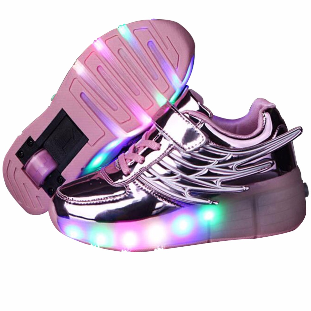 Roller shoes shop - Kids Sneakers With Wheels Girls Casual Led Shoes With Wings Nina Zapatillas Con Ruedas Y Luce Lighted Up Roller Skate Zapatos
