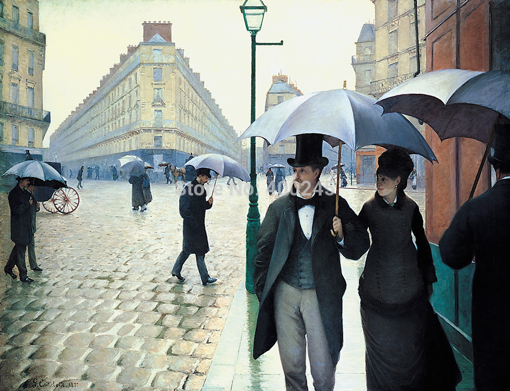 High Quality Gustave Caillebotte painting Paris Street; Rainy Day Landscape oil painting canvas Hand painted Free shipping|painting oil canvas|canvas hunting|canvas head - title=