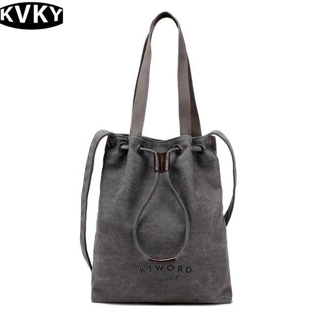 f51730051954 KVKY vintage Female handbag Designer women large canvas casual tote Ladies messenger  bags bucket shoulder bag