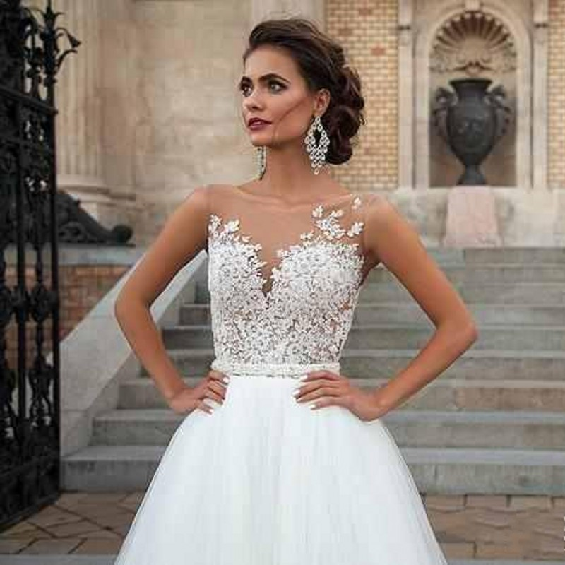 Lace bodice wedding dresses wedding ideas for Sheer bodice wedding dress