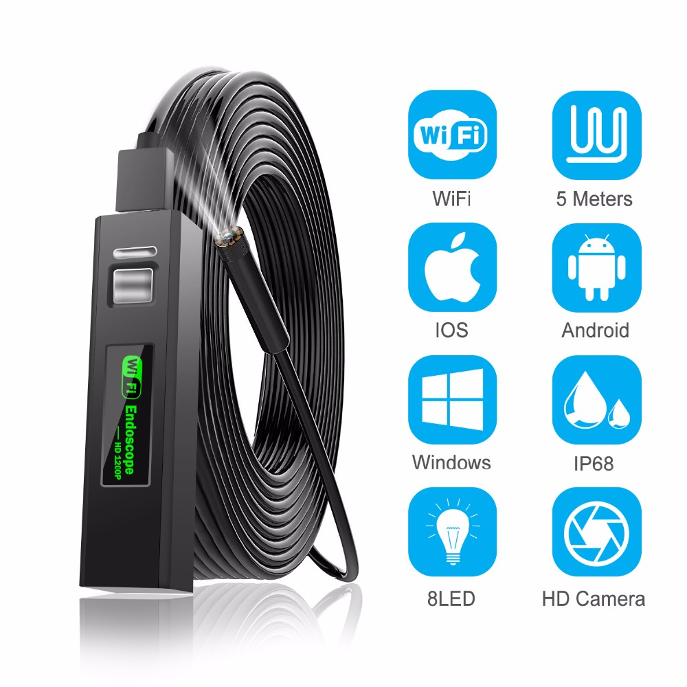 1200P Endoscope Camera Wireless Endoscope 2.0 MP HD Borescope Rigid Snake Cable for IOS iPhone Android Samsung Smartphone PC-in Surveillance Cameras from Security & Protection