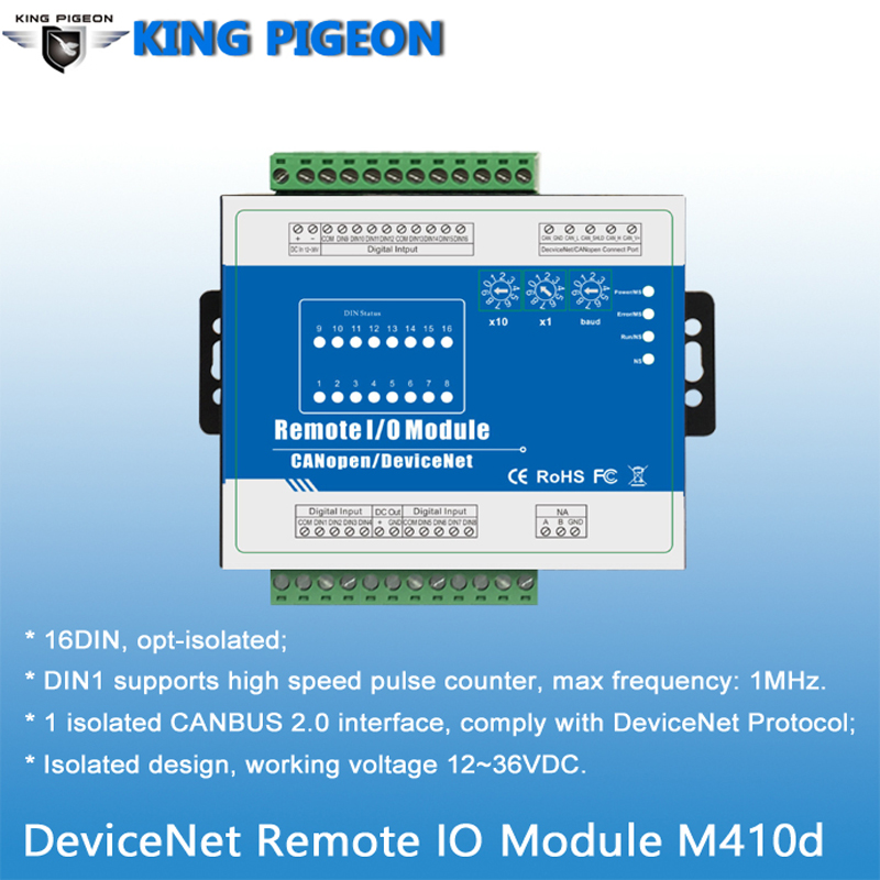 IOT Alarm Controller With 16 Optical Isolated Digital Inputs DeviceNet Remote IO Module 1 CANBUS Interface M410D