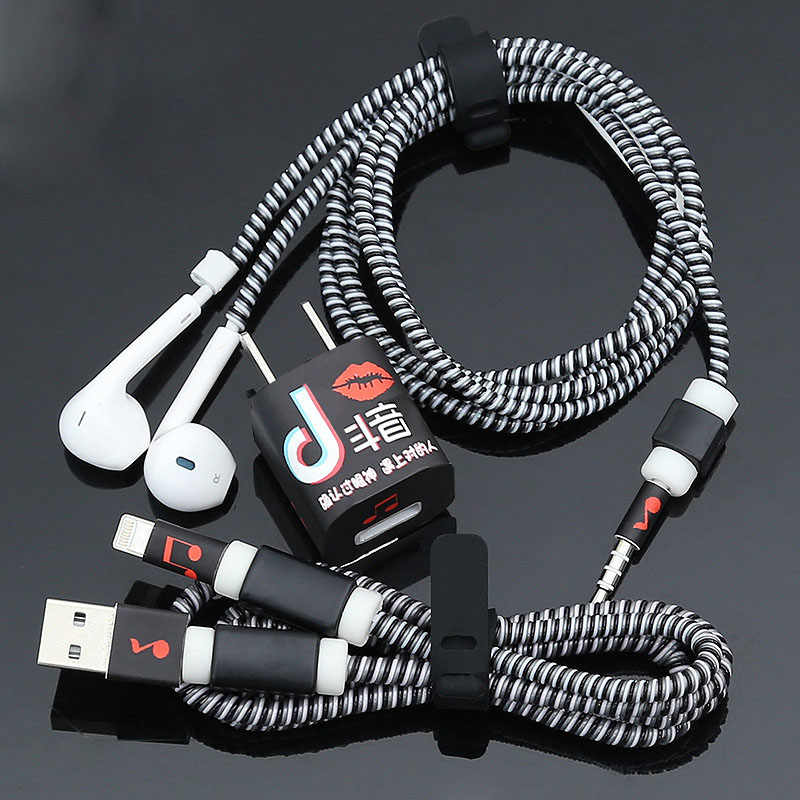 1,4 M TPU en espiral Cable de carga USB Cable Protector Set auriculares Protección de Cable para iPhone 5 y 5s 6 7 8 devanadera de Cable Línea alámbrica Protecive