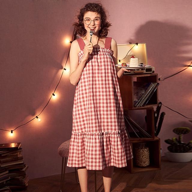 5298896231 Cute Princess Nightgown Women s Plaid Ruffles Nightdress.Lady Girl s Lolita  Pyjamas Dress Lounge