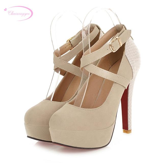 7b8a64039 Chainingyee festa estilo confortável dedo do pé redondo bombas moda cinto de  fivela sapatos plataforma preto