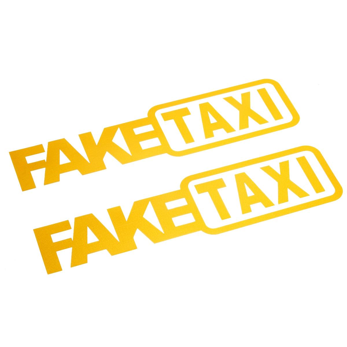 2PCS YELLOW /' FAKE TAXI /' Car Sticker Decal Emblem Self Adhesive Vinyl for Cars