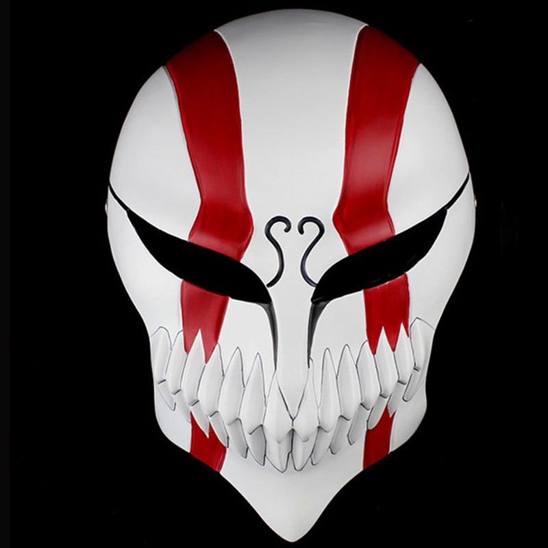 Free Shipping Red Resin Bleach Mask Japanese Anime Death Ichigo Kurosaki for Halloween Masquerade Cosplay Full Face Party Masks
