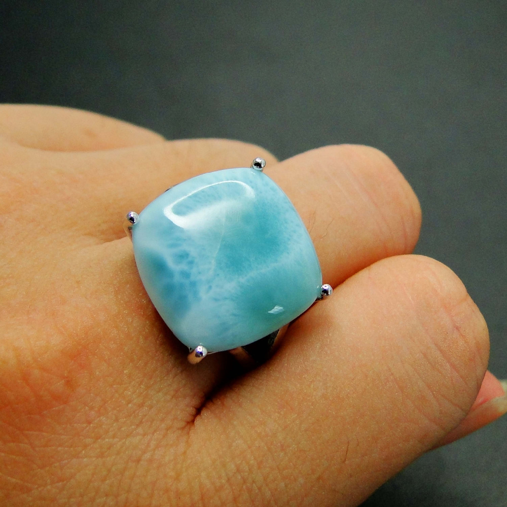 Fine Jewelry Woman Rings 925 Sterling Silver 16*16MM Real Larimar Gemstone Ring Blue AAA Larimar Party Anniversary Jewelry Gift