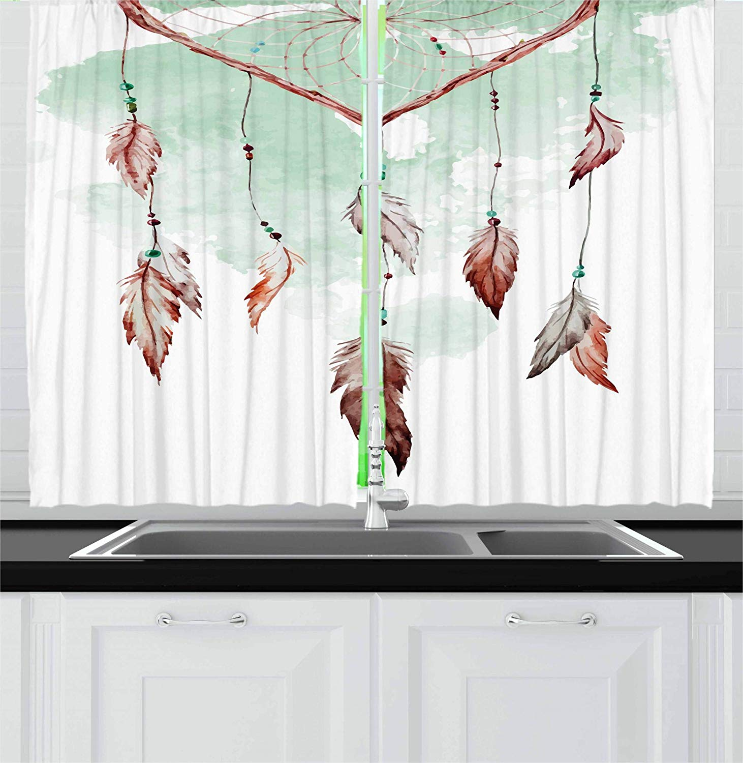 Traditional Curtains Us 13 62 35 Off Aliexpress Buy Feather Curtains Watercolor Vibrant Dream Catcher With Ornamental Elements Traditional Design Window Drapes For