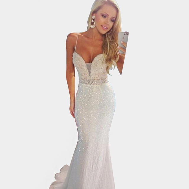 Aliexpress.com : Buy Sexy Long White Prom Dresses 2015 Spaghetti ...