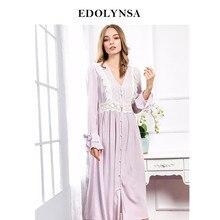 cb982e0cf Autumn And Winter Night Dress V-neck Lace Elegant Women Nightwear Indoor  Clothing Comfortable Nightgowns Vintage Sleep Wear  H2