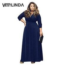 VESTLINDA Ukraine Style Vintage V Neckline Casual Dress Women Autumn Vestidos Blue Party Robe Sexy Plus Size Maxi Dress Women