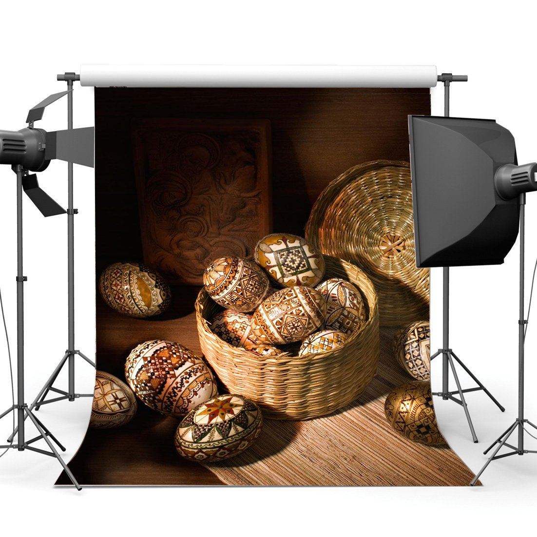 Happy Easter Eggs Backdrop Gloomy Straw Hat Basket Carving Frame Old Barn Interior Spring Frohe Ostern Photography Background-in Photo Studio Accessories from Consumer Electronics