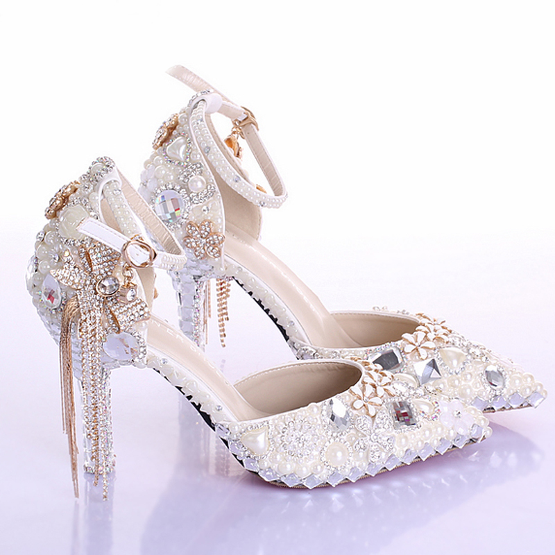 Elegant Pointed Toe Ivory Pearl Wedding Party Dress font b Shoes b font Ankle Strap Boots
