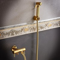 Wall Mounted Gold Brass Bidet Faucet Toilet Sprayer Tap Golden Bathroom Mop Cleaning Faucet ,Hose+Holder+Sprayer