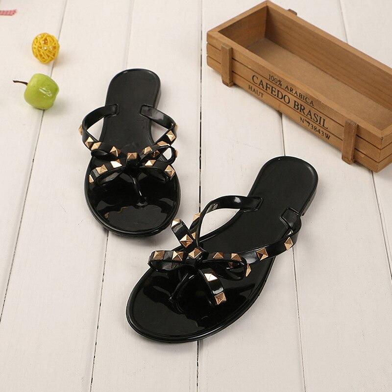 ZHENZHOU Women's Shoes 2019 Summer New Slippers Flat With Bow Rivets Slippers Flip-flops Garden Jelly Beach Sandals