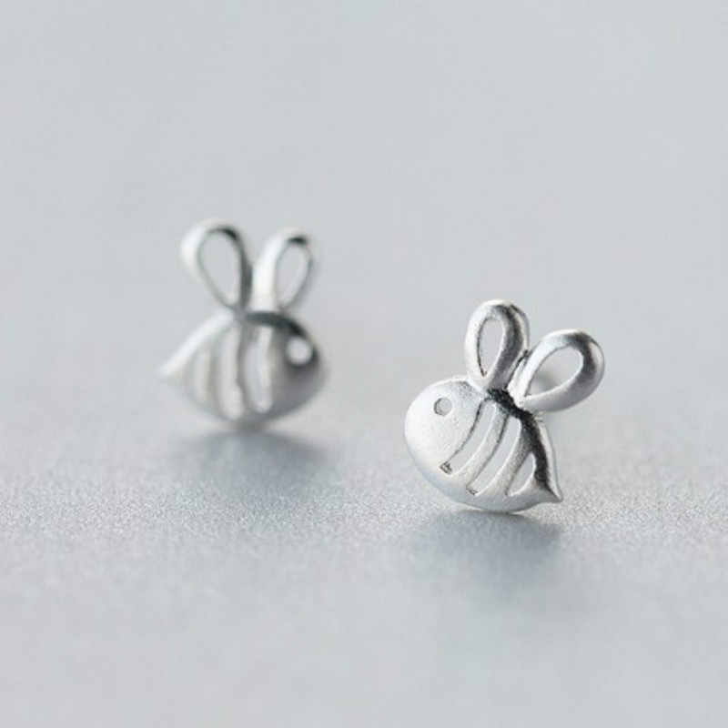 100% 925 Sterling Silver Women Jewelry Fashion Cute Tiny 7mmX8mm Hollow Bees Stud Earrings For Women Daughter Girls EH621
