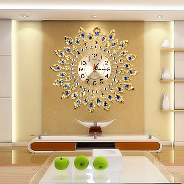 large wall clocks for living room. European Luxury Quartz Creative Large Wall Clock Art Golden Peacock Clocks  Modern Design Living Room
