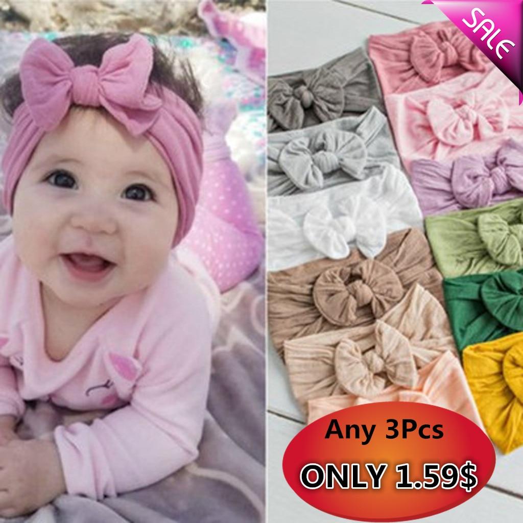 Newborn Toddler Baby Girls Boys Turban Solid Headband Hair Band Bow Accessories Cute Princess   Headwear   Soft Comfortable Cotton