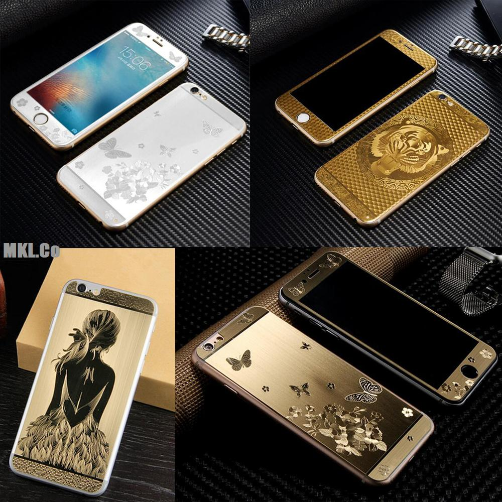 online retailer bb75c 2d867 3D Luxury Full Cover Color Tempered Glass case Gold Painting Front+Back For  iphone 5 5S SE 6 6S Screen Protector Film -in Screen Protectors from ...