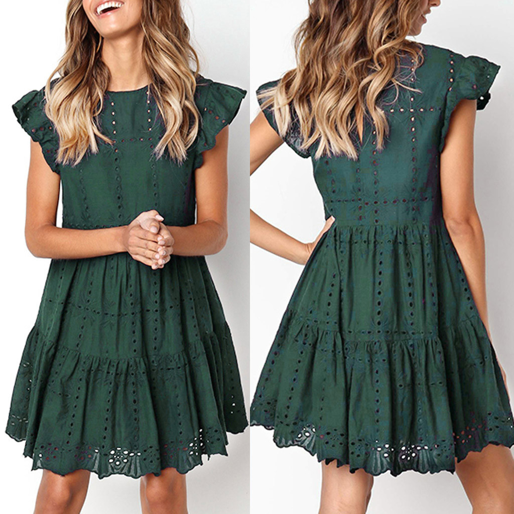 Fashion Women Casual Ruffles Sleeve  Hollow Out Dress Ladies O-Neck Ruched A-Line Dress Female Solid Short Sleeve Summer Dresses