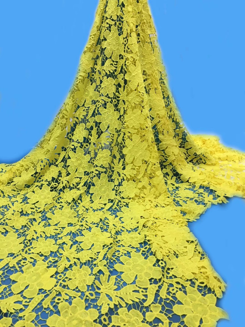 newcoming pure colour guipure lace fabric 5yards arican water soluble lace fabric for women dress YDJU081