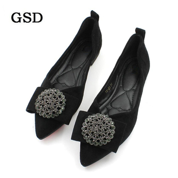 New 2019 Fashion Flats Women Boat Shoes Elegant Pointed toe Butterfly Knot Crystal Single Shoes Woman Flats Ladies Casual shoes