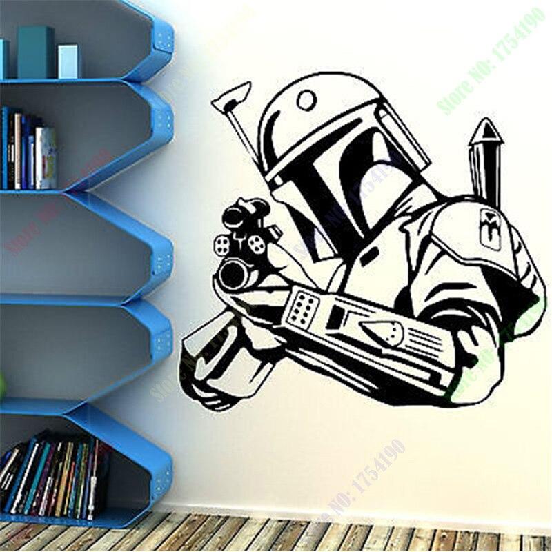 Decalque Da Parede Do Vinil Star Wars Bobba Fett Bounty Hunter Hunter Arma Arte Adesivos de Parede Sala Quarto Decorativa Decoração de Casa